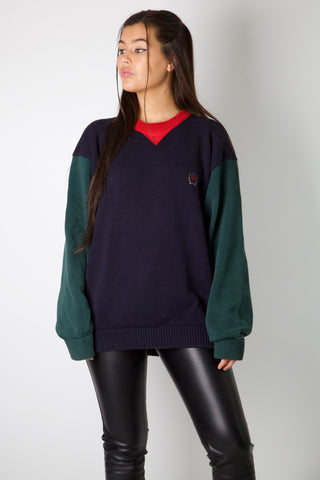 Embroidered Emblem Knitted Tommy Hilfiger Sweater