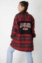 Red Spellout Harley Reworked Flannel