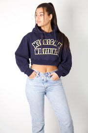 Michigan Wolverines Embroidered Cropped Hoodie
