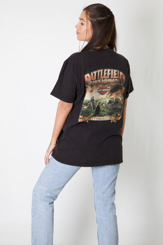 Flaming Battlefield Harley Tee