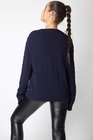 Navy Ralph Lauren Cable Knit Jumper