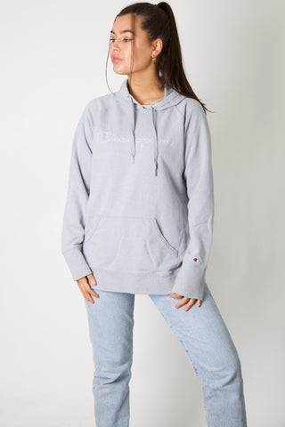 Champion Grey Embroidered Spell Out Hoodie