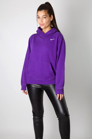 Nike Purple Embroidered Swoosh Hoodie