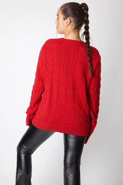 Red Ralph Lauren Cable Knit Jumper