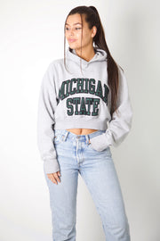 Michigan State Embroidered Cropped Hoodie