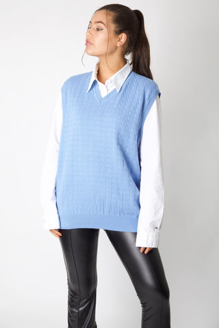 Baby Blue Tommy Hilfiger Cable Knit Spencer