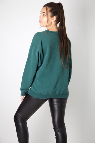 Nike Dark Green Embroidered Swoosh Crewneck