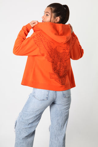 Harley Orange Eagle Zip Up Sweater