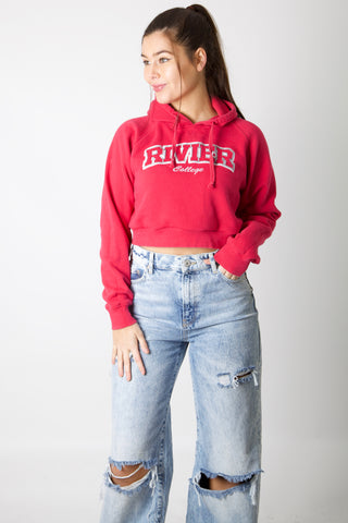 Rivier College Cropped Hoodie