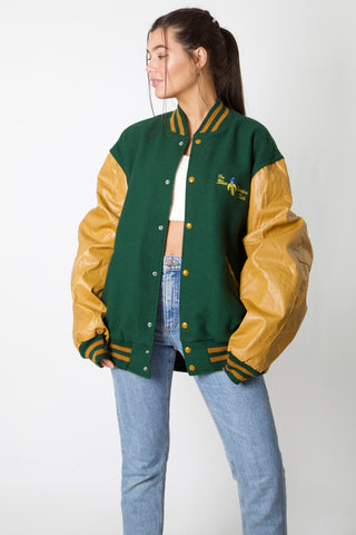 Blue Banana Club Faux Leahter Varsity Jacket
