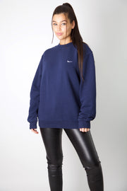 Nike Navy Embroidered Swoosh Crewneck