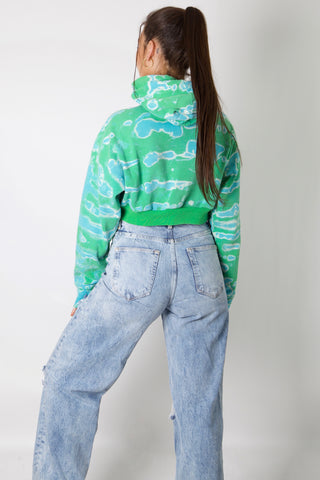 The North Face Blue Tie Dye Reworked Crop Hoodie