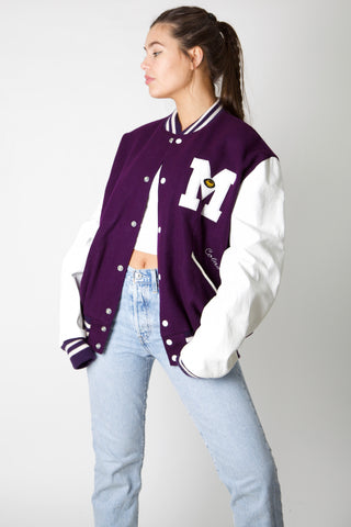M Rugby Leather Varsity Jacket