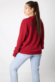Lacoste Bordeaux V-Neck Knit Jumper