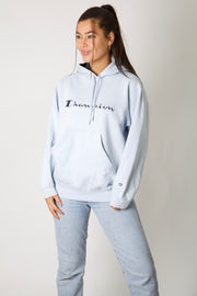 Champion Baby Blue Embroidered Spell Out Hoodie