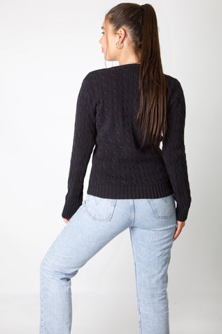 Ralph Lauren Black & Purple Cable Knit Jumper