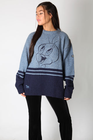 Tweety Happy Face Embroidery Knit Jumper