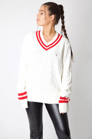 White Tommy Hilfiger Cable Knit Jumper