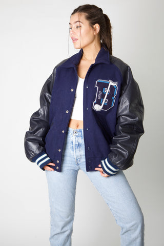 B Band Faux Leather Varsity Jacket