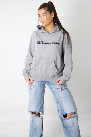 Champion Grey Embroidered Spellout Hoodie