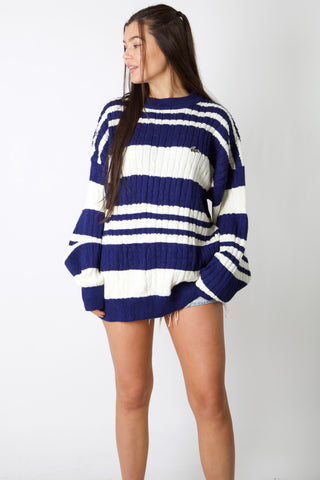 Lacoste Striped Cable Knit Jumper