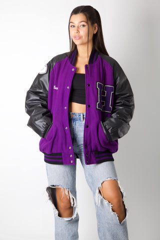 Purple H Rugby Varsity Jacket