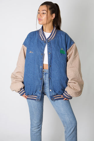 Max Exol Denim Varsity Jacket