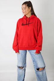 Nike Red Embroidered Swoosh Hoodie