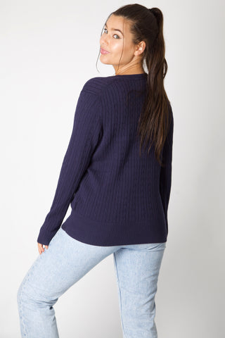 Navy Tommy Hilfiger Cable Knit Jumper