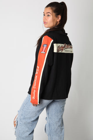 Harley USA Spellout Zip Up Sweater