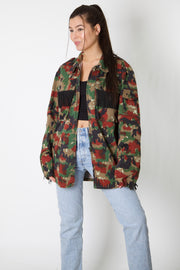 Red Logo Harley Reworked Camo Jacket
