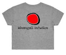 Load image into Gallery viewer, PRE ORDER WOMENS DHINAWAN CROP TSHIRT (WINANGALI INFUSION LOGO)