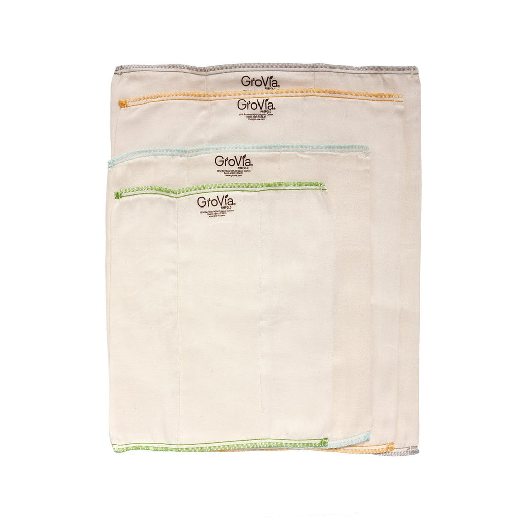 GroVia Bamboo Cotton Prefolds - Pack of 3 - Tushie