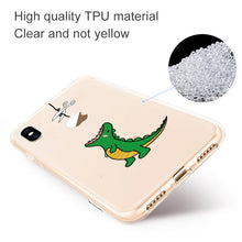 Load image into Gallery viewer, Dinosaur Eating Falling Apple Clear Silicone iPhone Case - iPhone-Cases.org