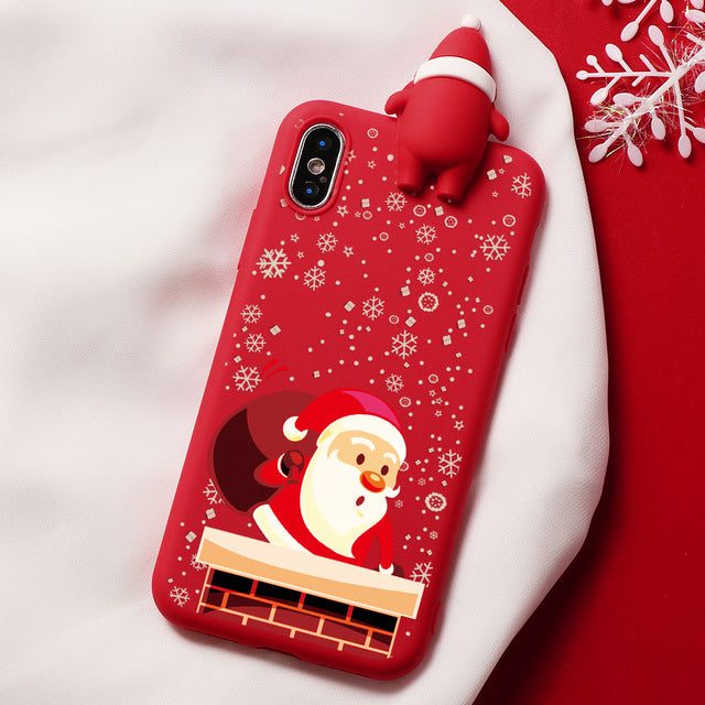 Santa Snowy Christmas Cartoon Characters iPhone Case - iPhone-Cases.org