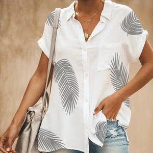 Leaves Printed Pocket Short Sleeve Blouses
