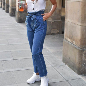 High Waist Ankle Pants Plain Jeans