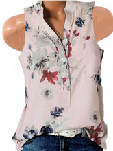 Load image into Gallery viewer, Sleeveless V Neck Flower Printed Shirt