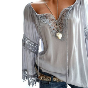 Decorative Lace  Hollow Out Plain  Long Sleeve Blouses