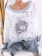 Load image into Gallery viewer, Round Neck Long Sleeve Printed Casual Loose Shirt
