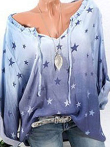 Star Printed Long Sleeve Blouses