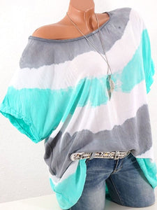 Stripes Round Neck Short Sleeve T-Shirts