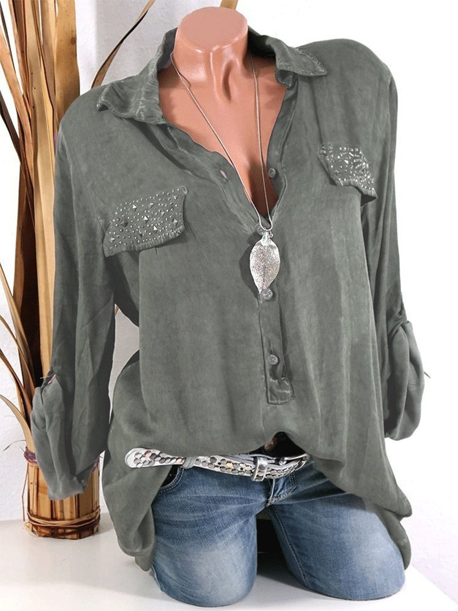 Fold Over Collar  Diamante Single Breasted  Plain Blouses