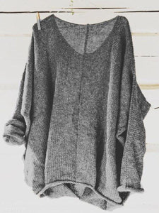 Scoop Neck Long Sleeve Plain Sweater