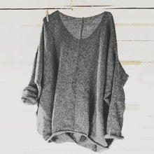 Load image into Gallery viewer, Scoop Neck Long Sleeve Plain Sweater