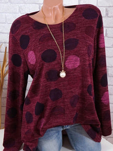 Round Neck  Dot Long Sleeve T-Shirts