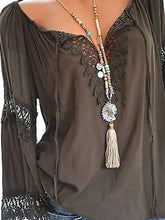 Load image into Gallery viewer, Decorative Lace  Hollow Out Plain  Long Sleeve Blouses