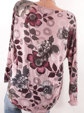 Load image into Gallery viewer, V Neck Loose Floral Printed Long Sleeve T-Shirts