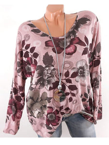 V Neck Loose Floral Printed Long Sleeve T-Shirts