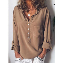 Load image into Gallery viewer, Pure Long-Sleeved Fashion Loose V-Collar Shirt
